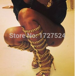 Wholesale Cheap Sexy Leather Boots - Wholesale-Cheap Sale 2016 Sexy Golden Chain Women Knee High Boots Designer Leather Thin Heel Gladiator Sandals Women Shoes Summer Boots