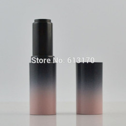 Wholesale Lipgloss Tube Empty - 50pcs lot Empty Lip balm Tubes Black Pink Gradient Color Lipstick Container Cylinder DIY LIpgloss Packing container