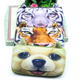 Wholesale Tiger Fabric Wholesale - Wholesale-New 3D Cartoon Animal Cat Dog Tiger Pencil Case Estuches School Plush Fabric Pencil Bags For School Supplies