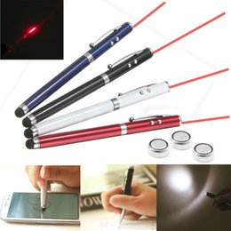 Wholesale Led Mobile Phone Screen - 4 in 1 Laser Pointer LED Torch Flashlight Touch Screen Stylus Ball Pen For Mobile Phones Tablets