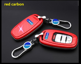 Wholesale Audi S5 Key - High Quality carbon fiber Key Rings Protection Cover for Audi A4 A4L A5 A6 A6L Q5 S5 S7 Protect Shell Car Styling Cover Case