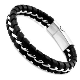 Wholesale Titanium Leather Mens Bracelet - Unique Designer 316L Stainless Steel Bracelets & Bangles Mens Gift Black Leather Knitted Magnetic Clasp Bracelet Men Jewelry