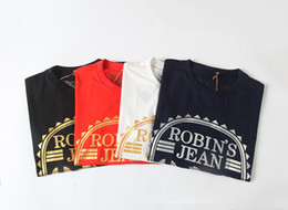 Wholesale Printed Jean Shorts - 2016 New Robin's Jean Shirts Mens Robin Jean Shirts 100% Cotton robins t shirt Hip Hop Men Short Sleeve T-Shirt Robin short tee&tops men