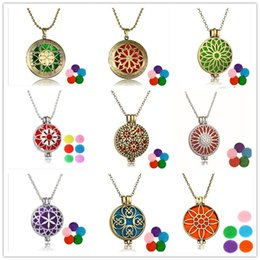 Wholesale Flowers Easter - 2017 HOT Aromatherapy perfume diffuser necklaces essential oil diffuser locket necklaces antique silver bronze censer jewelry cage pendant