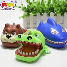 Wholesale Large Gags - CongMingGu Large Bulldog Crocodile Dinosaur Shark Mouth Dentist Bite Finger Game Funny Novelty Gag Toy for Kids Children Play Fun