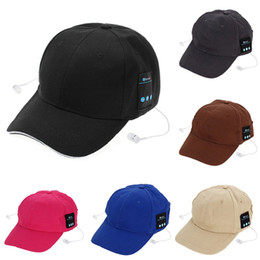 Wholesale Ear Cap Iphone Mix - 5 Colors Bluetooth Music Earphone Hat Baseball Caps Sunhat With Bluetooth Travel Sports Bluetooth Headset Stereo Headphone