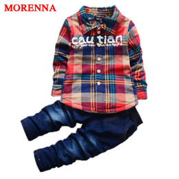Wholesale New Style Jeans Pant Kids - MORENNA 2017 New Arrival Boys Suit Shirt +pants 2pcs set Jeans Plaid Cardigan Jacket Gentleman Suit Denim Kids Clothes Set