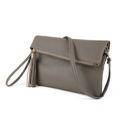 Wholesale Sling Grey - 2017 Ladies Tassel Design Women PU Leather Crossbody Messenger bag Small Sling Shoulder Bags Fold Closure Handbag Purses