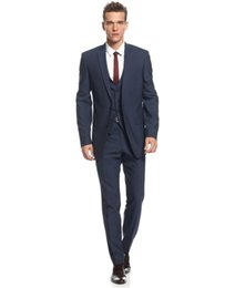 Wholesale Midnight Blue Wedding - Midnight Blue Slim Fit Suits for Grooms 2016 Top Quality Handmade Wedding Suits Design for Men Three Pieces Cheap (Jacket+Pants+Vest)