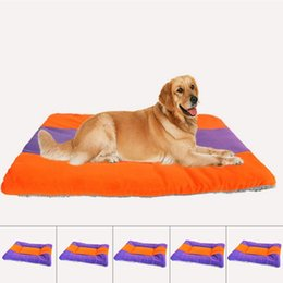 Wholesale Cat Beds Accessories - New Pet Dog Cat Bed Soft Warm Cushion Kennel Mattress Sleep Mat Orange with Blue FSQ0014