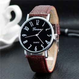 Wholesale Geneva Girl Watches - Personality digital Geneva fashion watch Mens casual wrist watches Leather quartz Women Male dress watches Girls Couple Gift