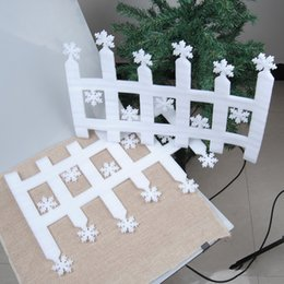 Wholesale White Plastic Fencing - Wholesale- 2pcs White Fence Snowflake Shape Pendant Ornament Window Door Xmas Tree Garden Wall Christmas Home Decorations Happy New Year