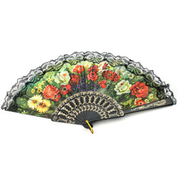 Wholesale Wholesale Spanish Fabric - Wholesale Free shipping,Hot selling 100 pcs lot Plastic Flower Floral Fabric Lace Spanish Victorian Hand Fan Hand Held Dance Fan
