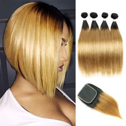 Wholesale brazilian blonde - T 1B 27 Dark Root Honey Blonde Straight Ombre Human Hair Weave 4 Bundles with Lace Closure Brazilian Virgin Hair Extensions