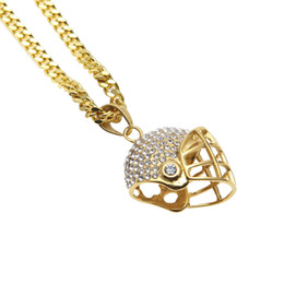 Wholesale Rhinestone Sports Charms - Men Stainless Steel Pave Sport Football Paseball Helmet Pendant Charm Gold Bling CZ Rhinestone Hip Hop Necklace Jewelry