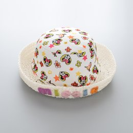 Wholesale Minnie Mouse Knitted - new 2017 Wholesale hats cute Minnie Mouse Minnie Mickey Children Caps Kids Crochet Knit Hat Girls sunhat baby Straw Hat Bucket Hat A624