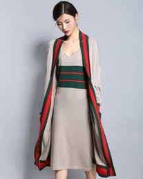 Wholesale Dress Medium Sleeves - Wholesale- 2017 spring and autumn medium-long cashmere cardigan outerwear loose casual color block tank dress twinset