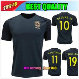 Wholesale Dark Green Jersey - 2017 New Brazil jersey NEYMAR JR thai quality 17 18 Brazil third Dark green PELE OSCAR D.COSTA DAVID LUIZ football shirts