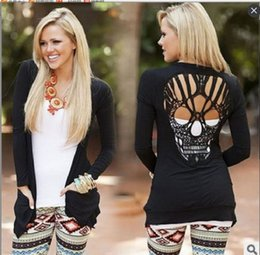 Wholesale Cardigan Out Wear - The new hit 2017 women's clothing skull long sleeve coat thin paragraph cardigan T-shirt QW47