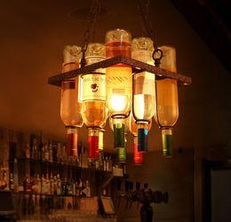 Wholesale painted glass bottles - Loft Painted Glass Wine Bottle Pendant Light Industrialstyle Glass Chandelier Decor Personality Pendant Lamp for Bar Restaurant Cafe LLFA