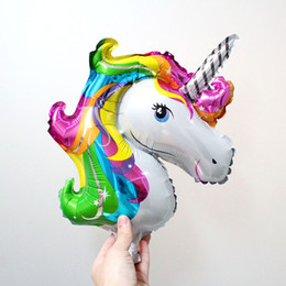 Wholesale Balloon Animals Supplies - Mini Rainbow Unicorn Foil Balloons Animal Helium Ballons Kids Birthday Party Supplies Baby Shower Decoration