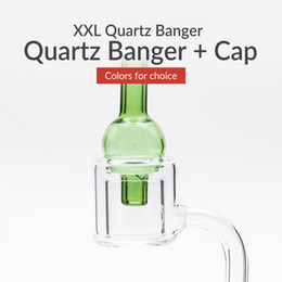 Wholesale 14mm Glass - Thermal XXL Quartz Banger + Cap Double Layer Quartz with 10mm 14mm 18mm Male   Female Clear Joint