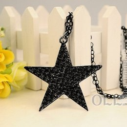 Wholesale Vintage Women S Necklace - Wholesale- Vintage Brve Men's Women Balck Star Necklace Cool Jewelry Valentine 's Day Gift for men Gift