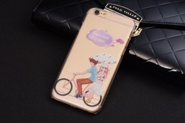Wholesale Embossment Case Iphone - Stereo Embossment PC Transparent Hard Case For iPhone 6 Plus 6S Plus 5.5 inch Bling Diamond Back Cover Bus Tower Deer