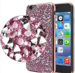 Wholesale Wholesale Soft Leather Bags - Jewelry Diamond TPU Case Crystal Luxury Glitter Bling Flash Power Soft Cases For iPhone 6 7 Plus S7 S8 Plus Opp Bag