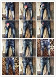 Wholesale Black Long Coat Men Styles - New arrival famous luxury italian Brand slim fit summer DSQ fashion patchwork denim ripped biker ripped skinny jeans hole for men