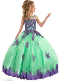 Wholesale Customs Dance - Flower Girls Lace Appliques Pageant Dresses Kids Glitz Dance Party Tulle Ball Gown Child Long Birthday Party Custom Made Colourful Dresses