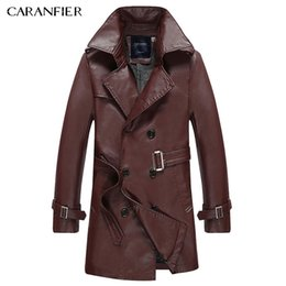 Wholesale Vintage Leather Trench - Wholesale- CARANFIER Classic Fashion Men Long Trench Coat Motorcycle Jacket Vintage Windproof Thick British Businessmen Style Gentleman