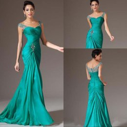 Wholesale Discount Mermaid Dresses - Best Selling Mermaid V-neck Floor Length Turquoise Chiffon Cap Sleeve Prom Dresses Beaded Pleats Discount Prom Gowns Formal Evening Dresses