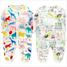 Wholesale Horse Jumpsuit - INS Baby girls rompers Toddler kids printed cotton Cartoon animal jumpsuit Newborn birds horses single-breasted rompers Infant clothes C1708