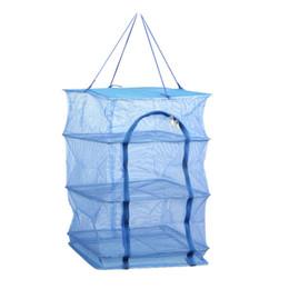 Wholesale Pe Net - Fish Net 40 X 40 X 68cm 4 Layers Drying Rack Folding Fish Mesh Hanging Net Blue PE Hanging Net