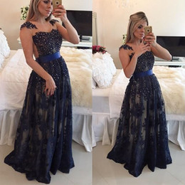 Wholesale Lace Belt Applique - Navy Blue Belt Formal Evening Dresses 2017 Sexy Sweetheart vestido de festa Pearls Applique Lace Abendkleider Crystal Prom Party Gowns