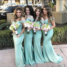 Wholesale Mint Green Vintage - Elegant Mint Green Mermaid Bridesmaid Dresses 2017 Vintage Lace Top Off the Shoulder Maid of Honor Gowns Formal Wedding Guest Dresses BA4833