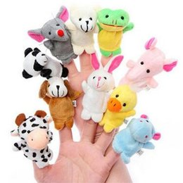 Wholesale Hand Puppets Wholesale - 10pcs lot Baby Stuffed Plush Toy Finger Puppets Tell Story Animal Doll Hand Puppet Kids Toys Children Gift 10 Animal Puppet CCA7572 100lot