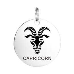 Wholesale Engraved Birthday Necklace - Stainless Steel Silver Zodiac CAPRICORN Laser Engraved Pendant Crafting Charm Findings for Necklace Jewelry Birthday Gift