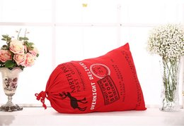 Wholesale Large Favor Bags - 2017 Christmas Gift Bags Large Organic Heavy Canvas Bag Santa Sack Drawstring Bag With Reindeers Santa Claus Sack Bags for kids