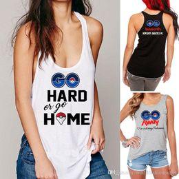 Wholesale Womens Long Black Vest - Poke PokéMon Go Pocket Monster Print Poke Go Team Valor Team Mystic Team Instinct lady women Fit Tshirt Vest Top T-Shirt Womens Clothing