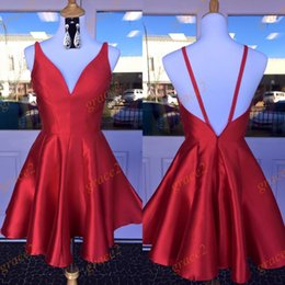 Wholesale Modern Semi Formal Dresses - Semi Formal Dresses 2017 with V Neck and Sexy Back Real Picture Red Satin Short Homecoming Dress Custom Made