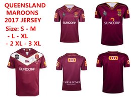 Wholesale Maroon T Shirts - 2017 2018 NRL National Rugby League Australia Queensland QLD Maroons Rugby jersey Johnathan THURSTON 6 jerseys 17 18 New Zealand t shirt