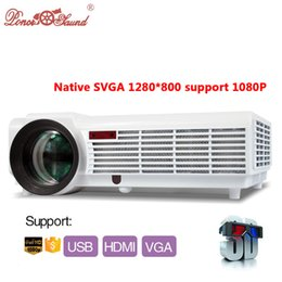 Wholesale Home 3d Led Projectors - Wholesale- gifts Hot Brightness 5500Lumens Long life LED Full HD LED home cinema TV projector 3D lcd Multimedia video game Projectors