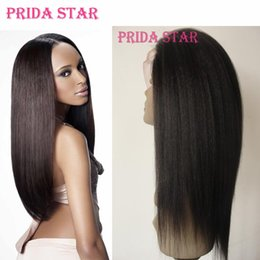 Wholesale Glueless Virgin Wigs - Prida Star Lace Front Wig Malaysian Virgin Hair Yaki Straight Full lace Wig Glueless Human Hair Wigs Malaysian Free Shipping