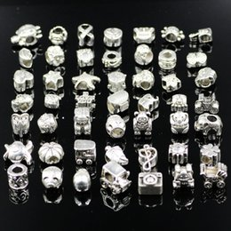 Wholesale Tibetan Coin Jewelry - Wolesale Mixed Styles Tibetan Silver Bead Fit Pandora Original Bracelet Women Jewelry