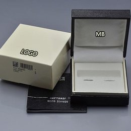 Wholesale Valentine Packages - Luxury MB gift box for Top Grade Wooden Black Wood cufflinks Box with The Warranty Manual for Christmas Birthday Valentine gift packaging