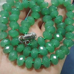 Wholesale Emerald Abacus - Fashion Green Emerald Rondelle Abacus Jasper 5x8mm Faceted Abacus Loose Beads High Grade Women Necklace BV09 Chains Brida