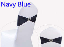 Wholesale Spandex Chair Ties - Navy blue colour Crown buckle lycra sash for wedding chairs decoration spandex band stretch bow tie lycra ribbon belt on sale