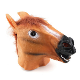 Wholesale Popular Halloween Costumes - Wholesale-2016 Creepy Horse Mask Head Halloween Costume Theater Prop Novelty Latex RubberSelling Popular Brown Horse Head Mask party mask